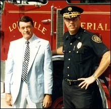 Russ Sanders (right) with Colonel John Ridge in 1987