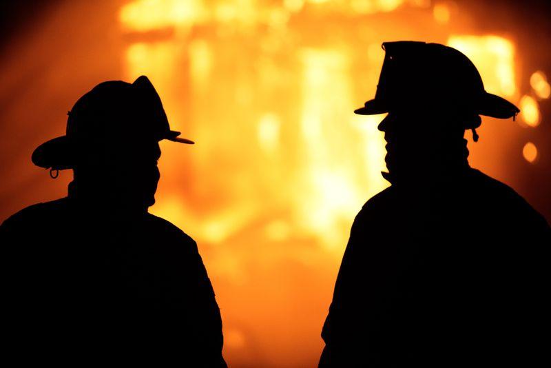 Firemen house fire