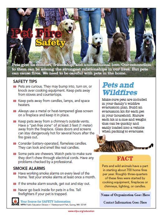 Pet Fire Safety Tips Sheet