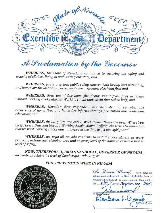 Nevada Proclamation