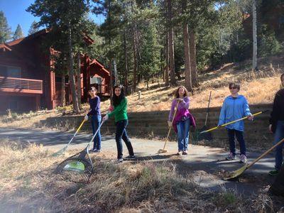Woodland Park Youth raking
