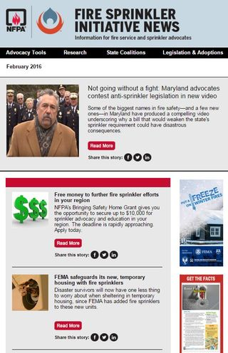 Fire Sprinkler Initiative newsletter