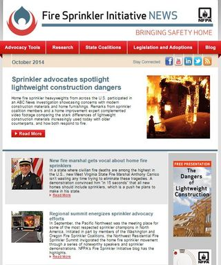 October 2014 Fire Sprinkler Initiative newsletter