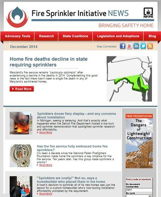 December Fire Sprinkler Initiative newsletter