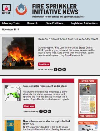 NFPA Fire Sprinkler Initiative newsletter