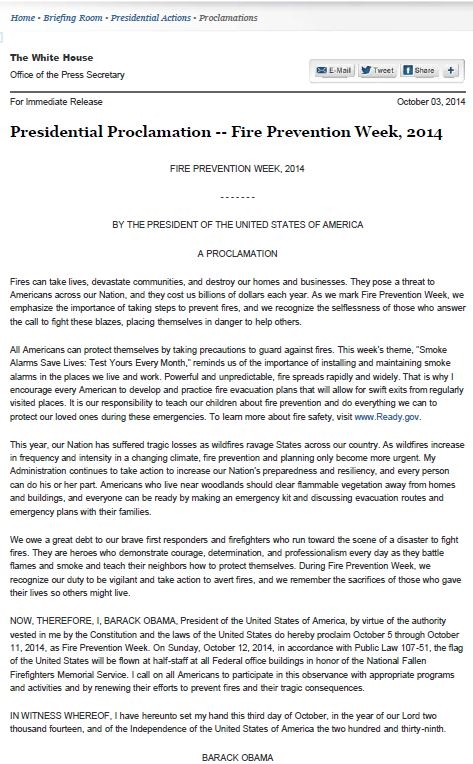 Presidential Proclamation
