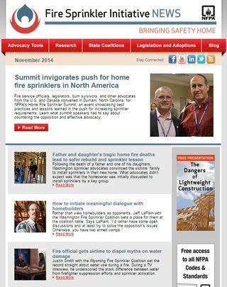 November Fire Sprinkler Initiative newsletter