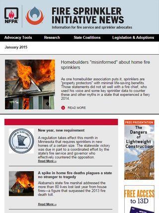 January 2015 Fire Sprinkler Initiative newsletter