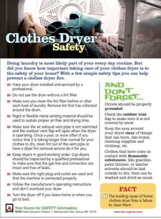 Clothes Dryer Tips Sheet