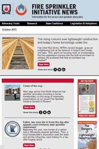 October 2015 Fire Sprinkler Initiative newsletter