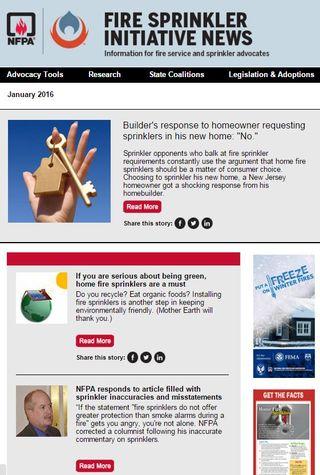 January 2016 Fire Sprinkler Initiative newsletter